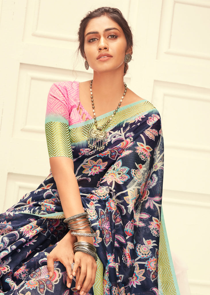 ROYAL NAVY BLUE FLORAL WOVEN LINEN SAREE WITH GOLD BORDER