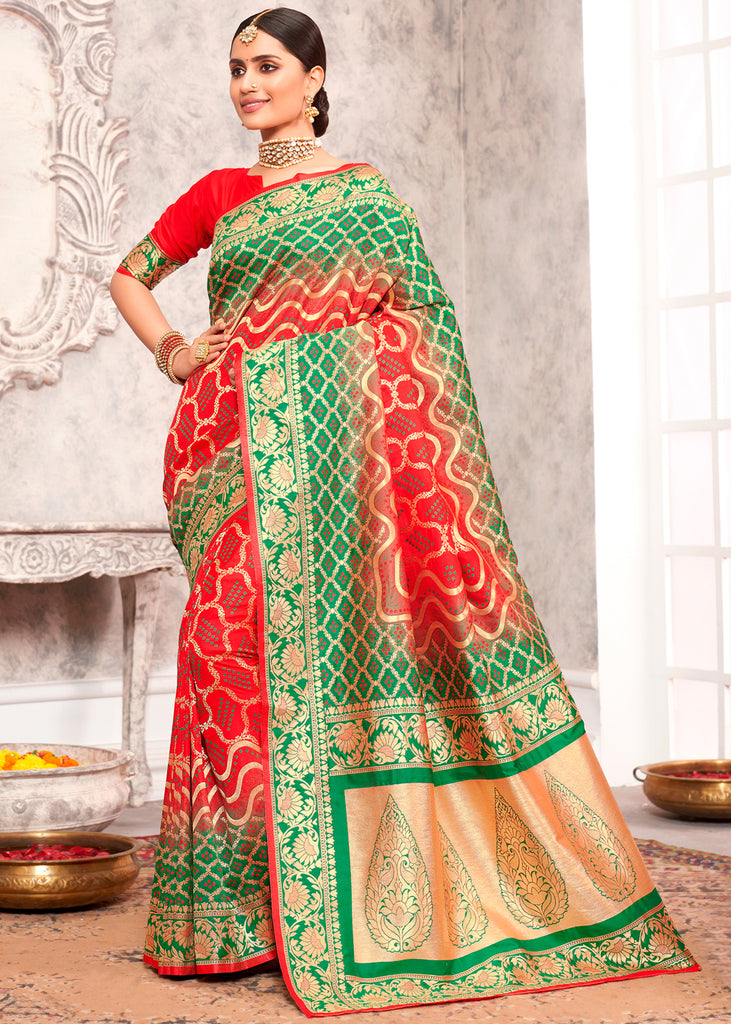 RED AND GREEN WOVEN BANARASI SILK SAREE WITH  HEAVY EMBROIDARY
