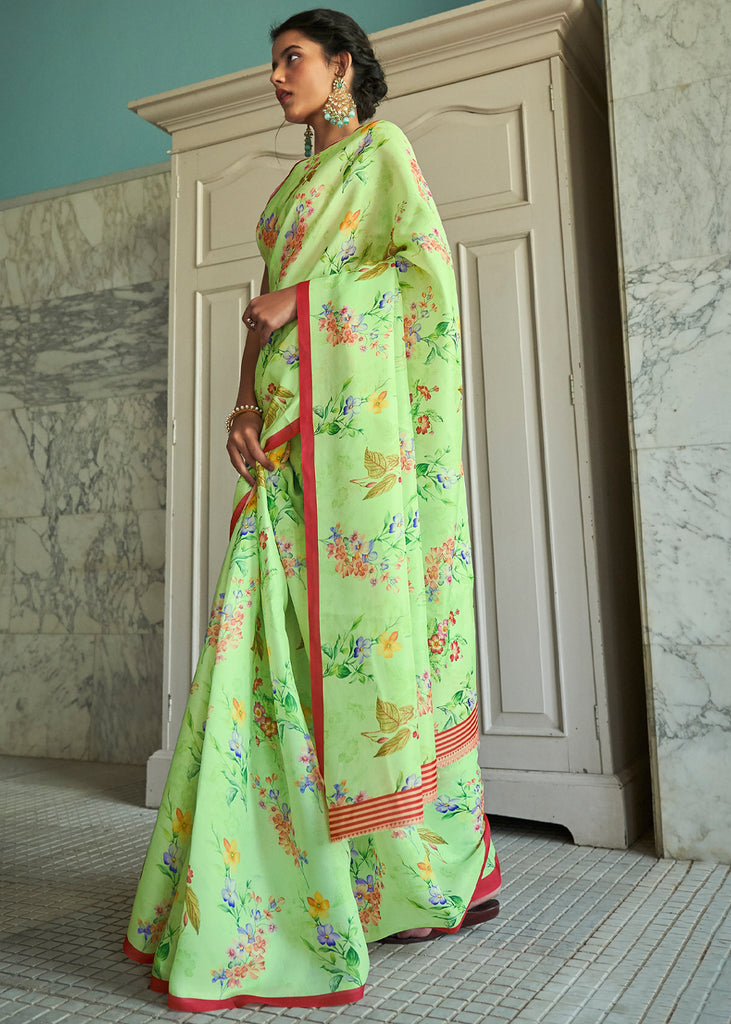MINT GREEN WOVEN TUSSAR SATIN SAREE