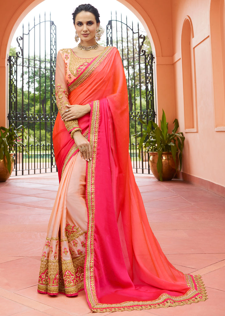 ROSE PEACH WOVEN SILK SAREE WITH DESIGNER BLOUSE