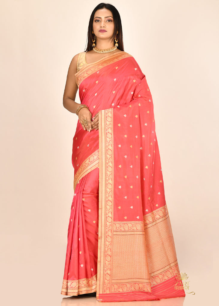 Royal Peach PURE KATAN SILK BANARASI HANDLOOM SAREE
