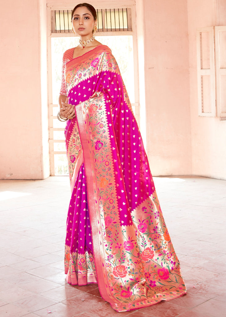 RASPBERRY PINK AND GOLD WOVEN PAITHANI SAREE