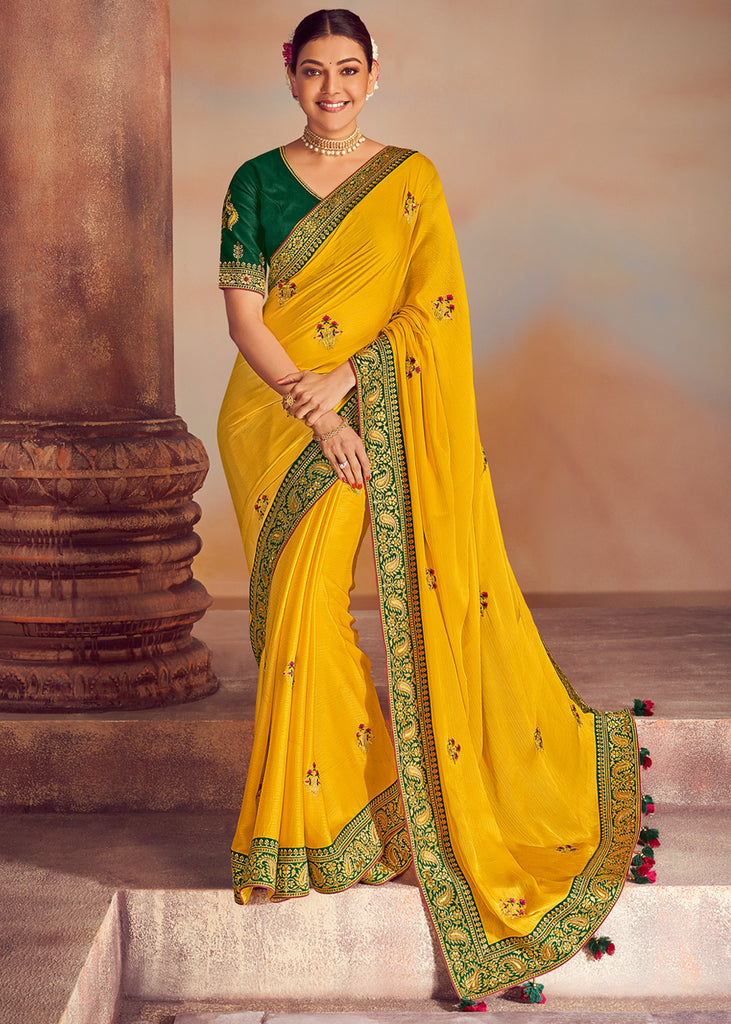 SUNNY YELLOW WOVEN BANARASI SILK SAREE WITH HEAVY EMBROIDERED BOOTAS