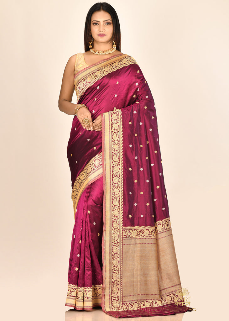 Purple wine Pure Katan Silk Banarasi Handloom Saree