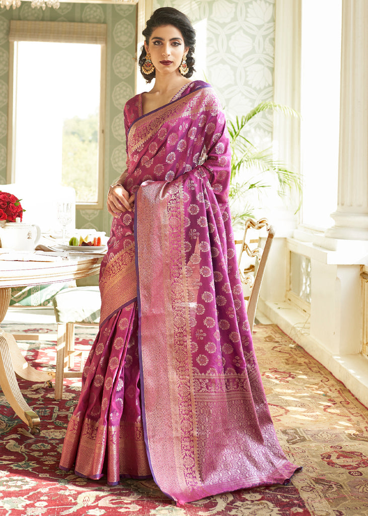 DRY ROSE PURPLE WOVEN BANARASI BROCADE SILK SAREE