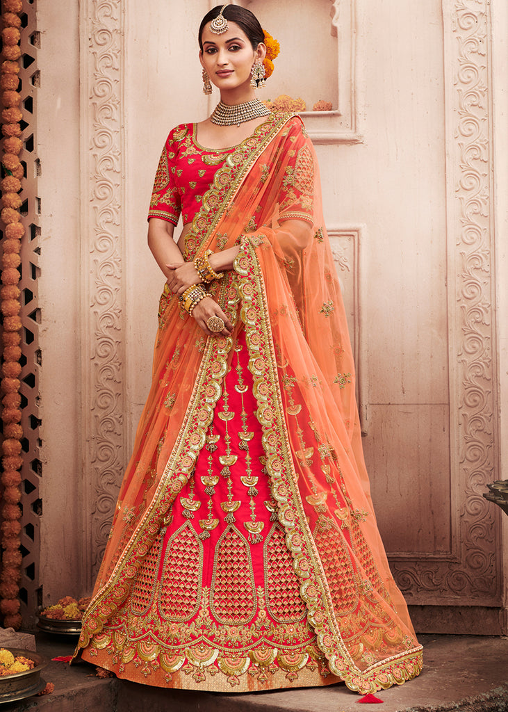 BRIDAL ESSTENTIALS: ROSE PINK AND PEACH LEHENGA WITH HEAVY EMBROIDERY