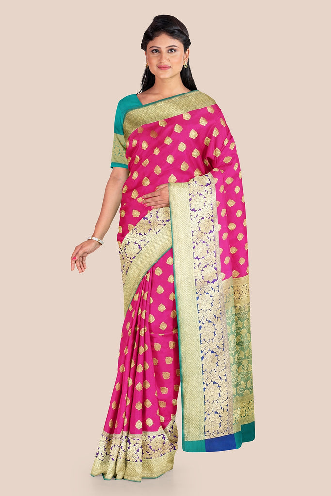 PRINCES PINK WOVEN BANARASI CHANDERI SILK SAREE