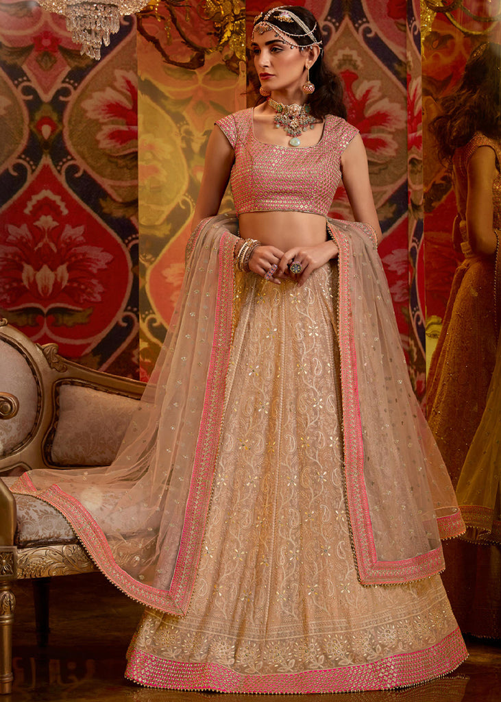 PRE ORDER: GORGEOUS ROSE GOLD HEAVY LEHENGA WITH EMBROIDERED  BLOUSE AND DUPATTA