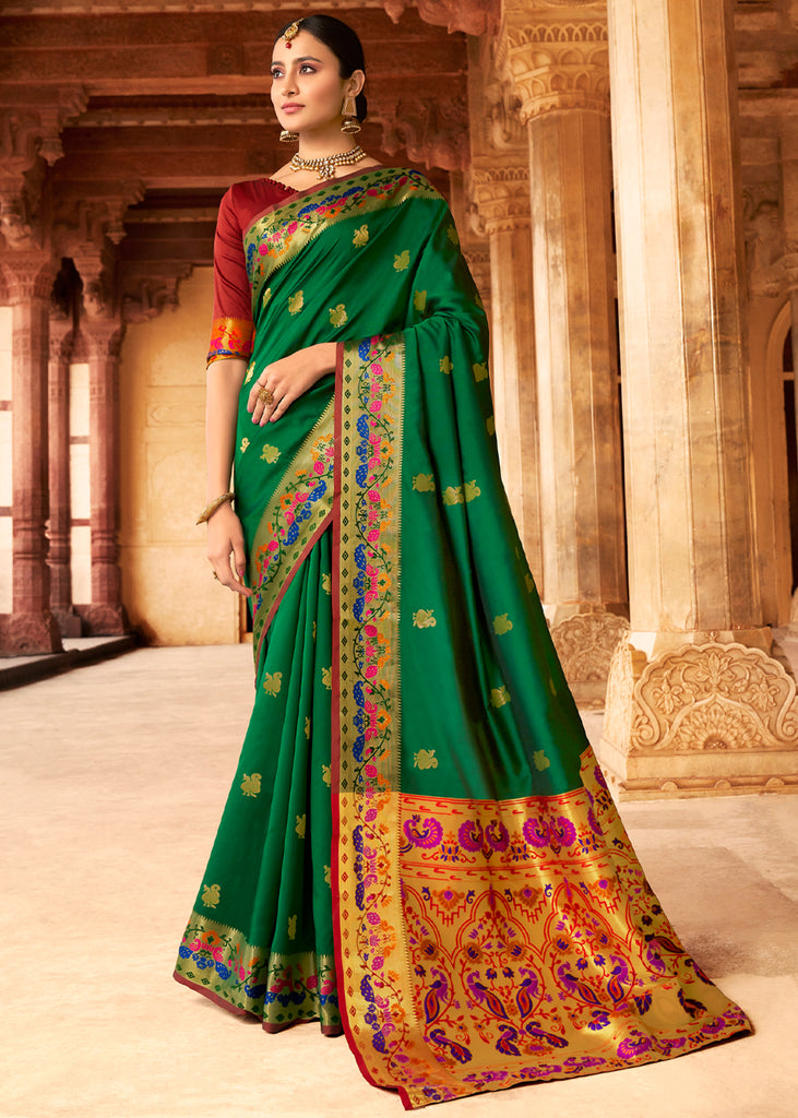 EMERALD GREEN WOVEN PAITHANI SILK SAREE