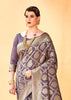Dark Mauve Geometrical Jaal Saree