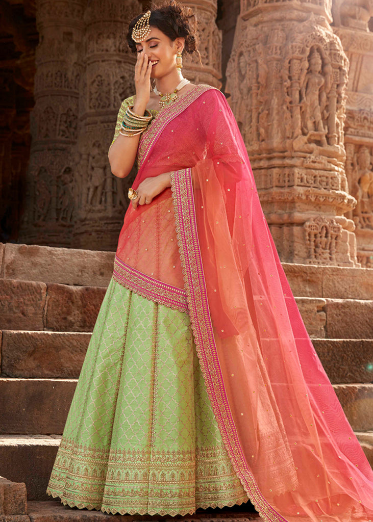 PISTA GREEN EMBROIDERED LEHENGA WITH BEAUTIFUL BLOUSE AND PINK DUPATTA