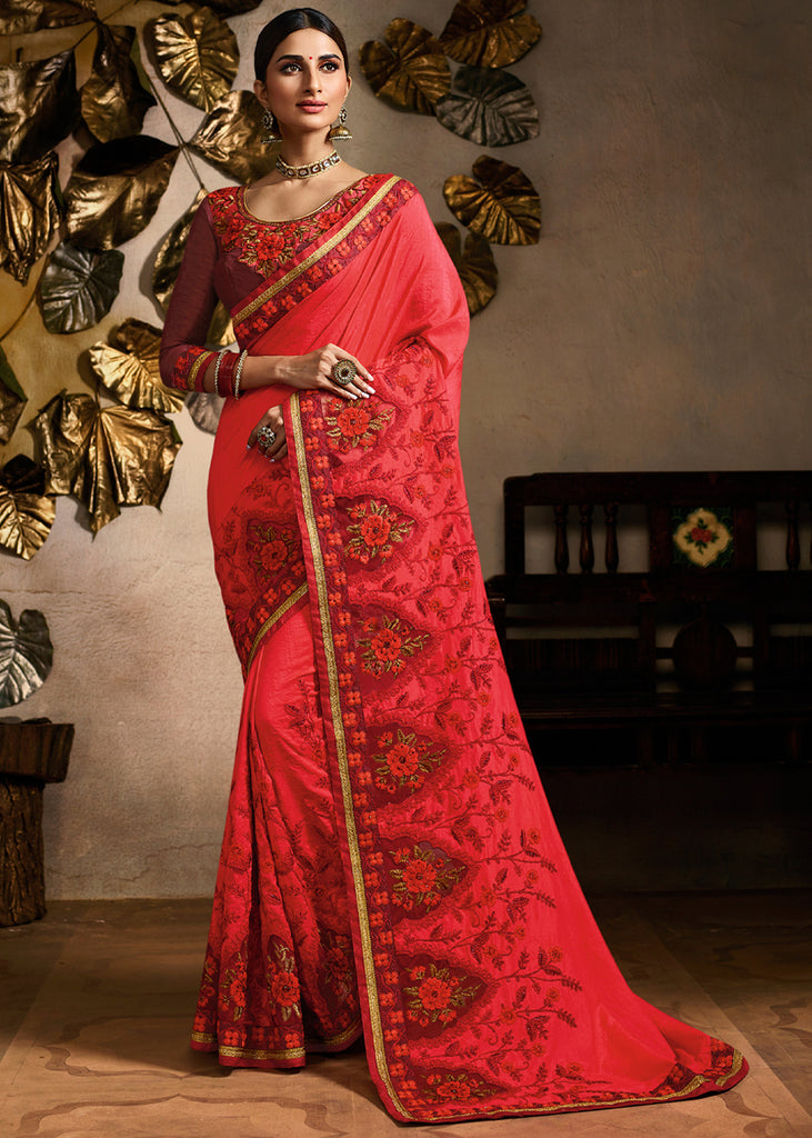 SWEET RED WOVEN DESIGNER SAREE