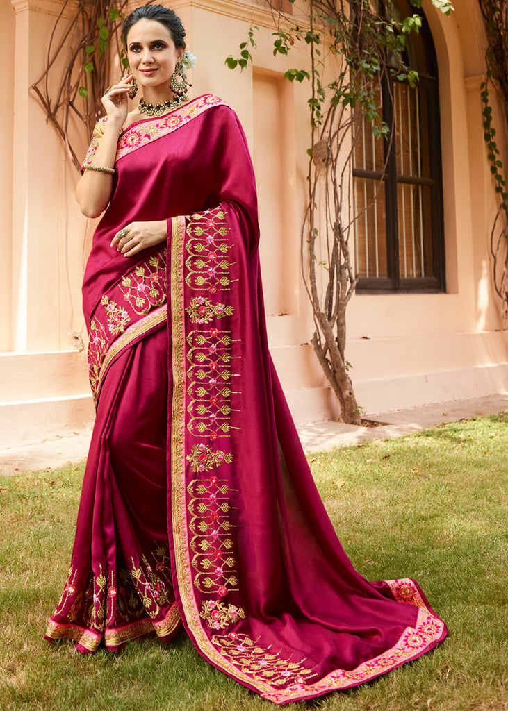 PRINCES PINK WOVEN SILK SAREE WITH DESIGNER BLOUSE