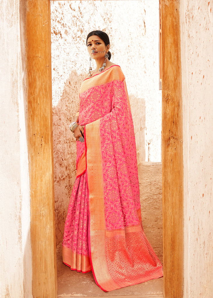 Soft Pink Saree With Intricate Brocade Blouse