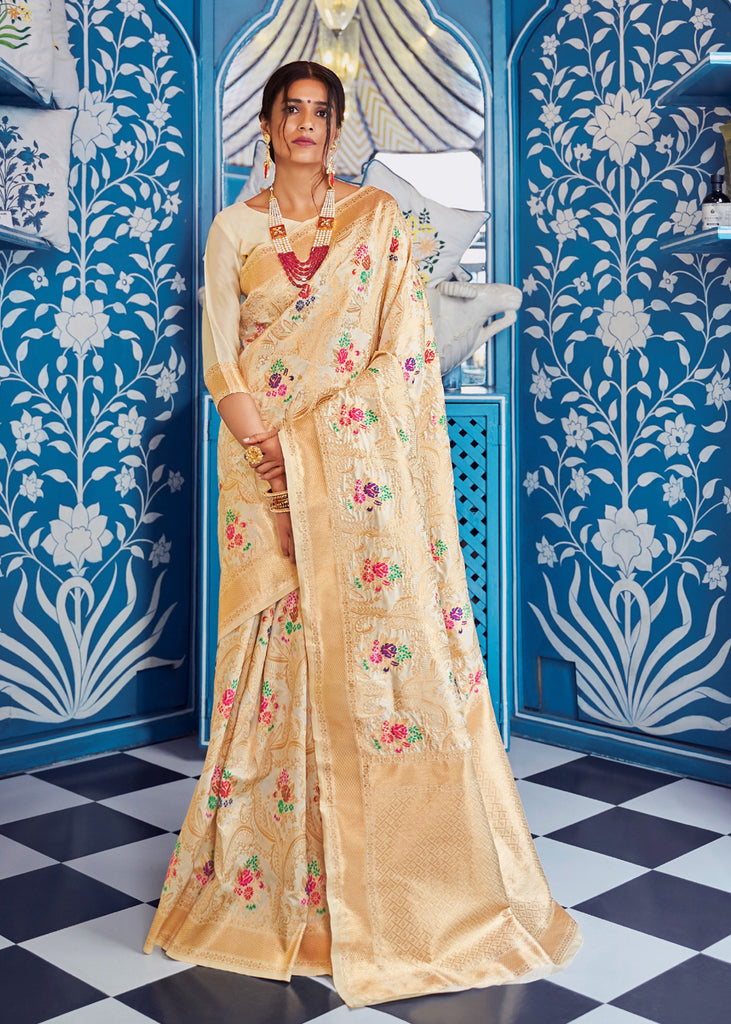 Pearl Cream Floral Boota Saree