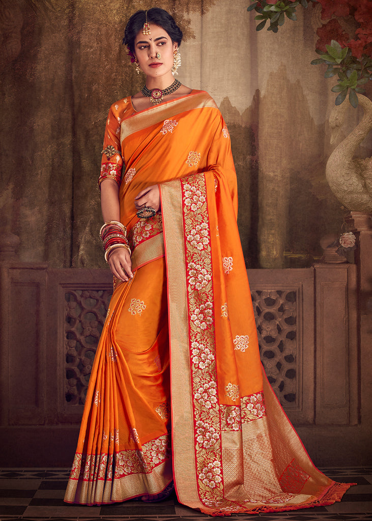 Beautiful Flame Orange Meenakari Banarasi Saree With Gold Woven Bootas