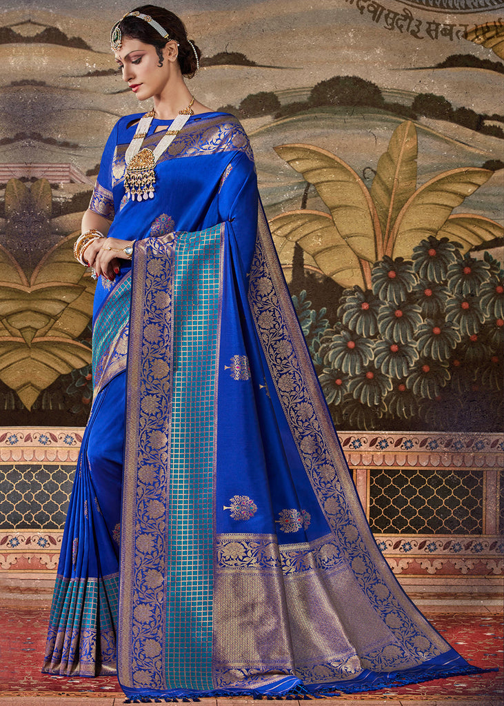 Royal Blue Woven Heavy Brocade Saree
