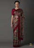 DEEP MAROON PRINTED SILK SAREE