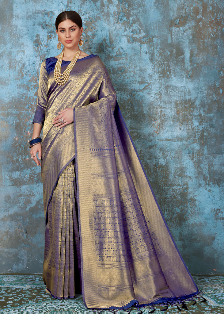 "PRICE DROP ""LIMITED TIME OFFER"" : Midnight Blue And Gold Kanjivaram Saree"