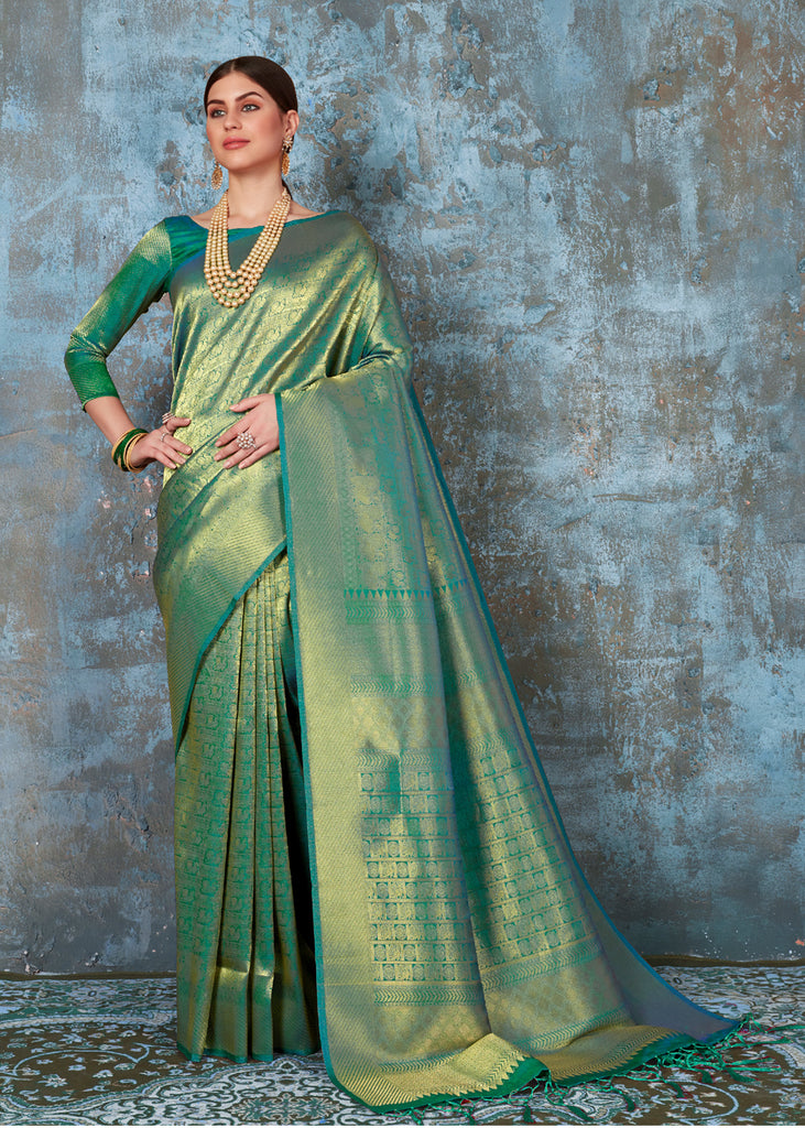 "PRICE DROP ""LIMITED TIME OFFER"" : Forest Green Kanjivaram Saree"