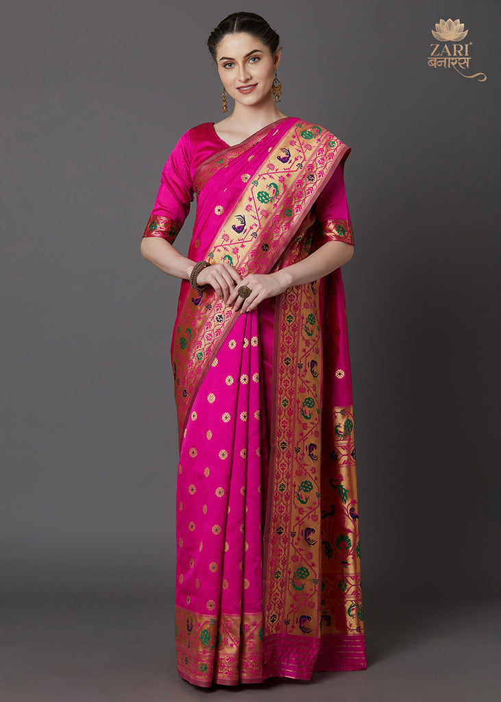 Hot Pink Festive Silk Woven Paithani Saree