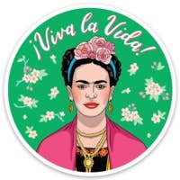 Frida with Pink Florals Die Cut Sticker