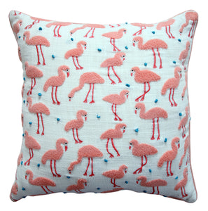Flamingo Farm Throw Pillow