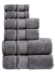 Luxor 6 Piece Towel Set- Grey