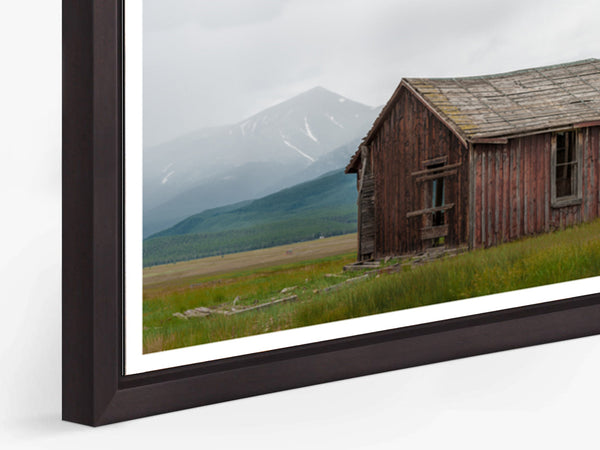 Brown Alder Float Frame with Barned Out Print Mounted