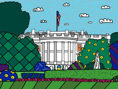 9E - Britto's 1600 PENNSYLVANIA AVE 2009 ROMERO BRITTO Limited Edition 15 X 20 Embellished and Hand Signed