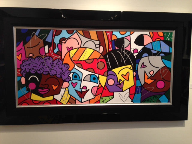 9C - ALL NATIONS Romero Britto 2009 - 2 out of 300 Limited Edition - Size is 65.5 x 30 - Large Centerpiece of Art - Embellished and Hand Signed