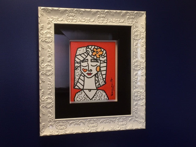 9 - ORANGE WORLD Original ROMERO BRITTO Painting on Acrylic / Canvas Romero Britto 2014 one of one 11X14 PLUS TRIPLE MATTING/FRAME