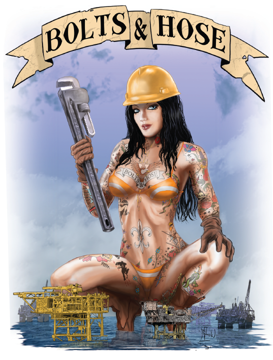 Bolts & Hose Custom Design Oilfield and Offshore Giant Sexy Woman