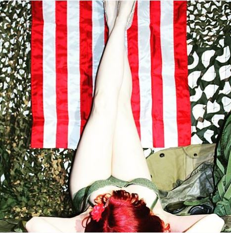 Fiery Patriotic Redhead inspired our Lady Luck vintage design