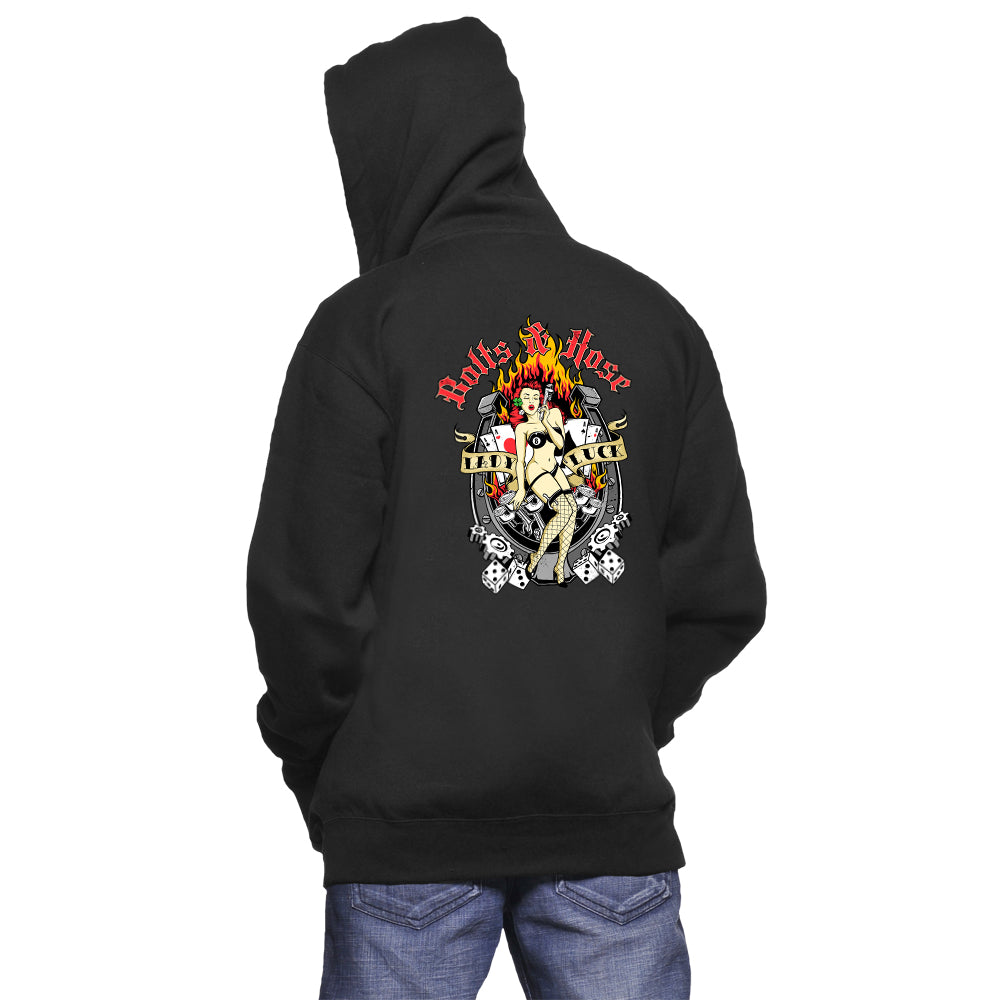 Lady Luck Hoodie Sweatshirt features our redhead pin up