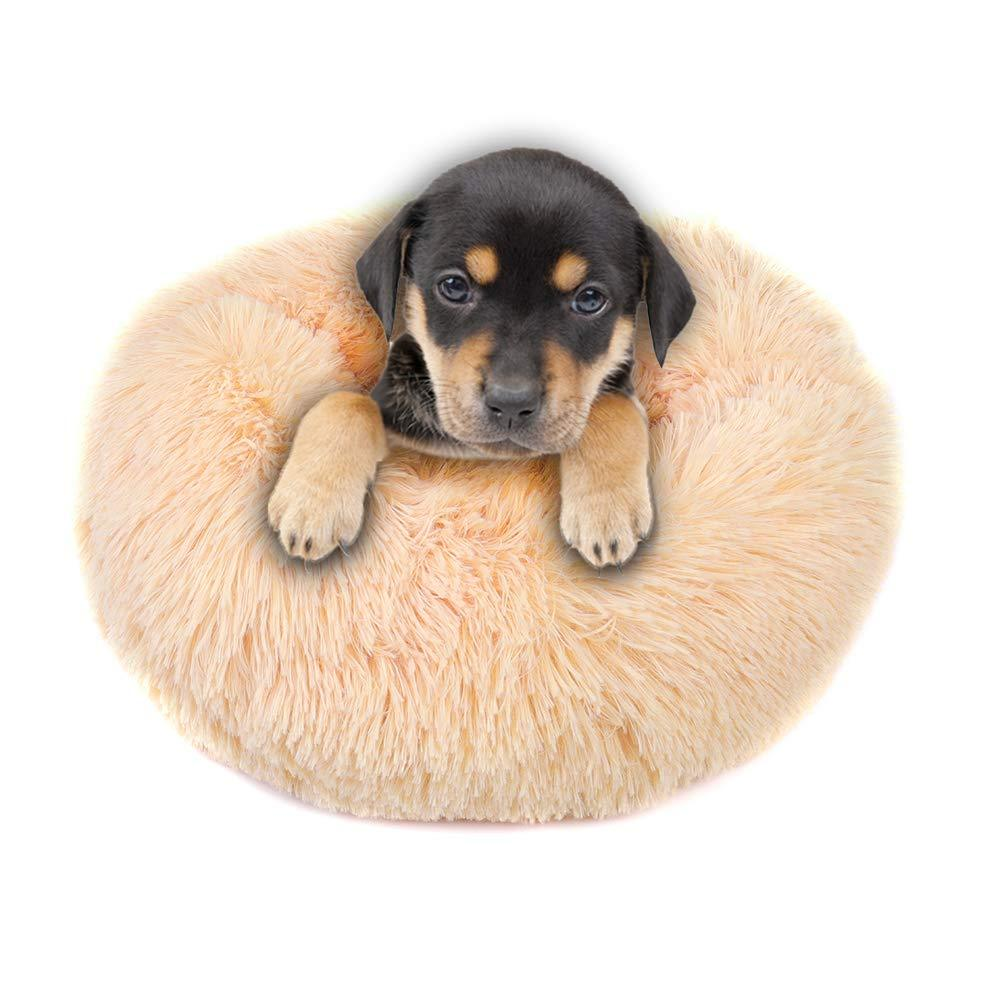 Round Pet Bed - Plush - Oatmeal