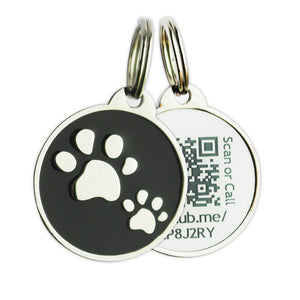 Scannable QR Code Pet Tag - Black
