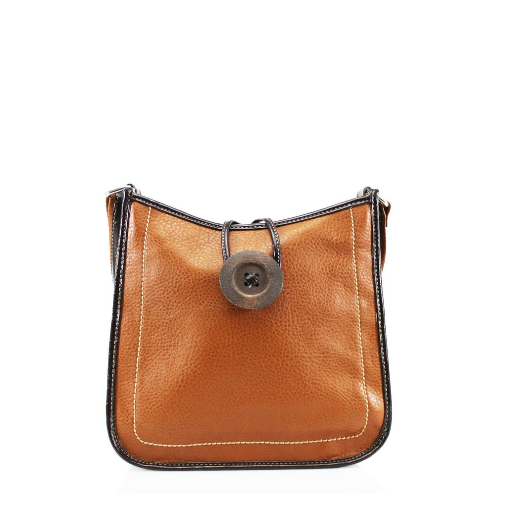 Women's Faux Leather Large Wooden Button Cross Body Bag - available in several colours - Hothouse