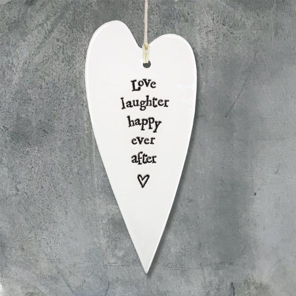 East of India - Porcelain Hanging Heart - Love, laughter