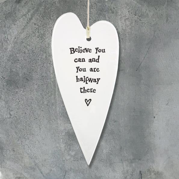 East of India - Porcelain Hanging Heart - Believe you can (2039) - Hothouse