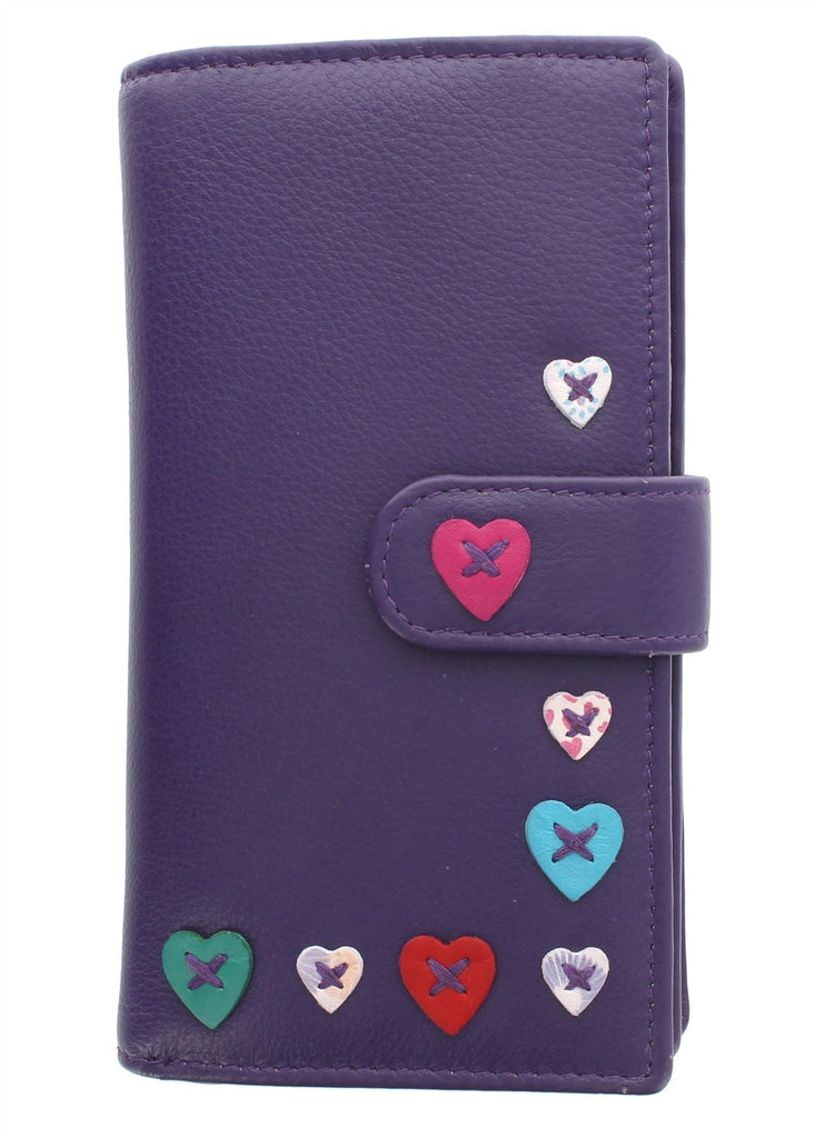 Mala Leather Lucy Large Tab Purse with RFID (3184_30) - Purple