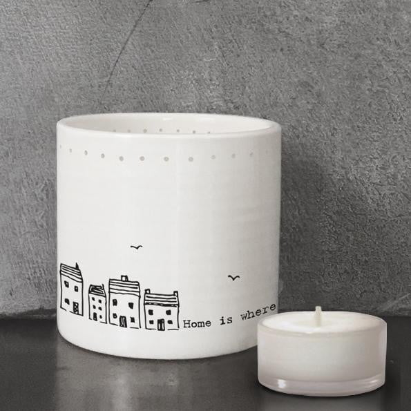 East of India Porcelain Tea Light Holder - Home is where the heart is (5701) - Hothouse