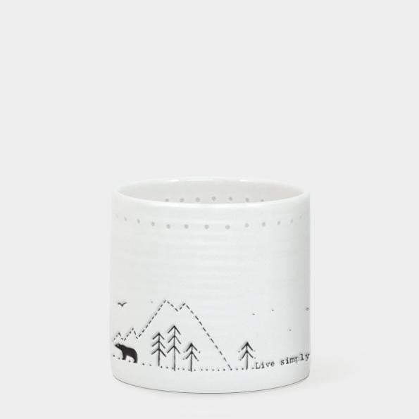 East of India Porcelain Tea Light Holder - Live simply, laugh a lot (5702) - Hothouse
