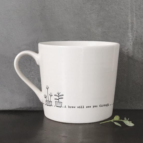 East of India Porcelain Wobbly Mug - A brew will see you through