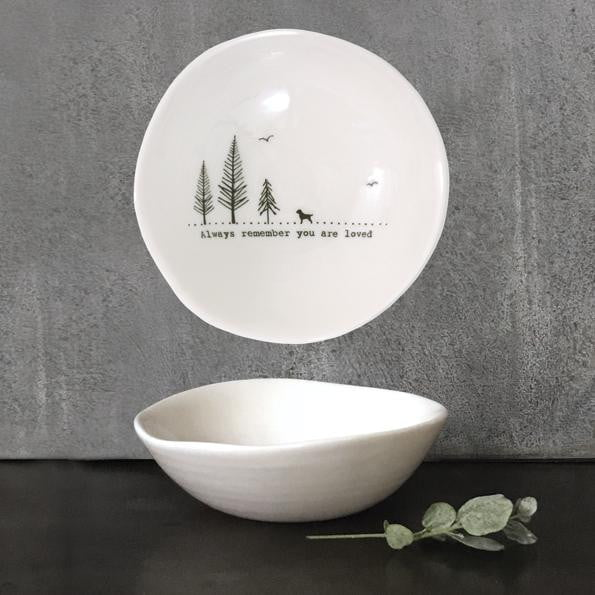 East of India Medium Wobbly Porcelain Bowl - Always remember (6021)