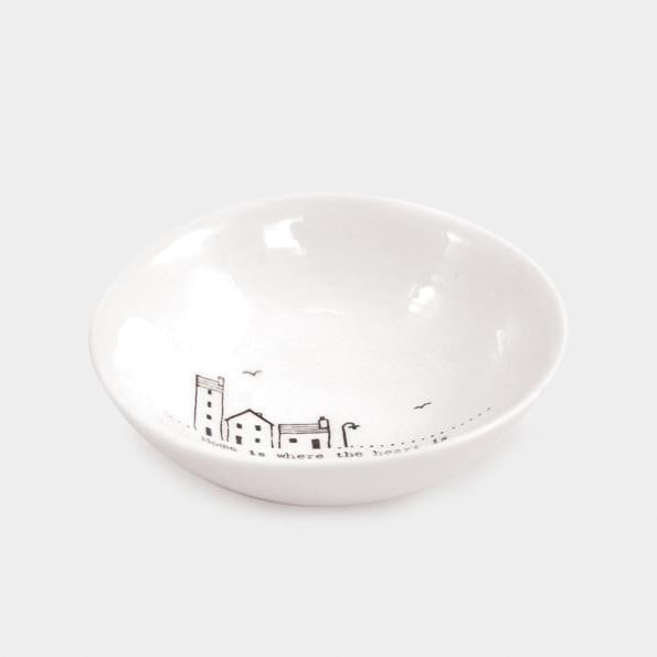 East of India Medium Wobbly Porcelain Bowl - Home is where the heart is (6023) - Hothouse