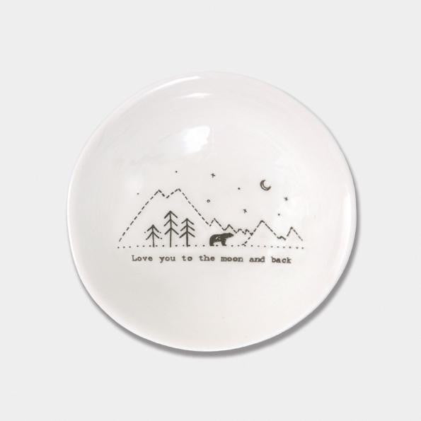 East of India Medium Wobbly Porcelain Bowl - Love you to the moon and back (6025) - Hothouse