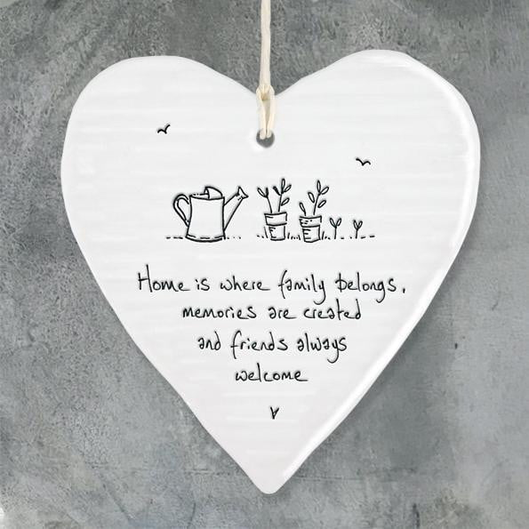 East of India - Porcelain Hanging Wobbly Heart - Home is where family belongs (6208) - Hothouse