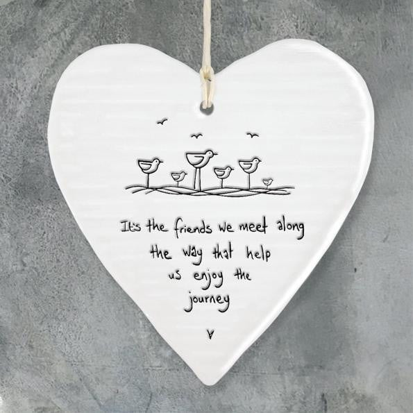 East of India - Porcelain Hanging Wobbly Heart - Friends we meet (6210) - Hothouse