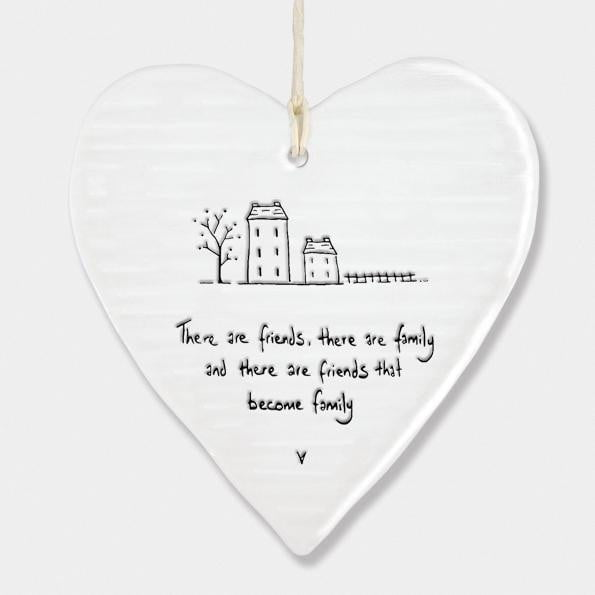 East of India - Porcelain Hanging Wobbly Heart - Friends become family (6216) - Hothouse
